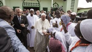 Pope Francis visiting the mosque in PK-5, Bangui, Central African Republic, in a show of interfaith cooperation (The New York Times)
