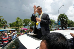 """Sam Rainsy, until Saturday the leader of the opposition Cambodia National Rescue Party, arriving in Phnom Penh, the capital, in August 2015. He fled the country that November to avoid jail time""."